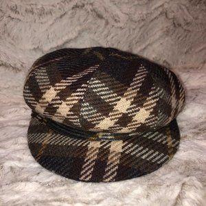 Dark Brown Burberry VintageCheck Newspaper Boy Hat
